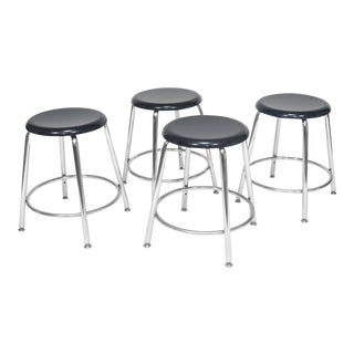 Heywood-Wakefield Heywoodite Chrome Stools With Blue Seats - Set of 4 For Sale