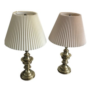 Stiffel Table Lamps with Shades - a Pair For Sale