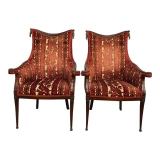 Italian Mahogany Armchairs - A Pair For Sale