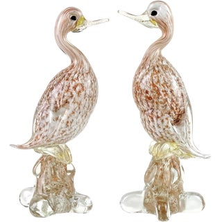 Murano White Gold Copper Aventurine Italian Art Glass Duck Bird Sculptures For Sale
