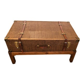 1930s Rustic Rattan Suitcase Coffee Table For Sale