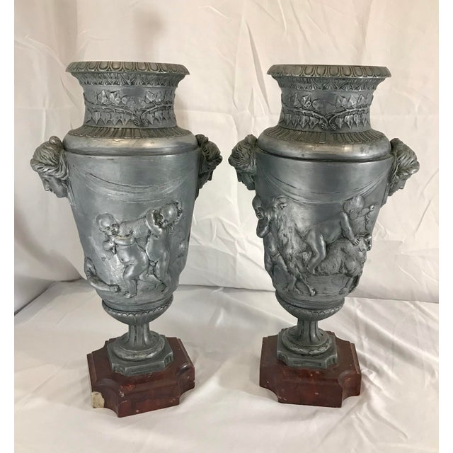 19th Century French Neoclassical Pewter on Marble Urns - a Pair For Sale - Image 13 of 13