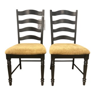 Aged Black Ladder Back Dining Chairs - A Pair For Sale
