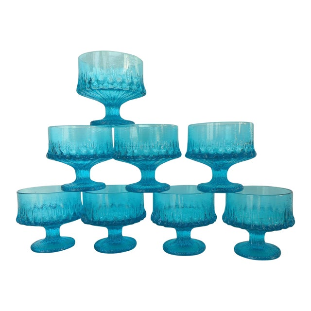 Vintage Turquoise Blue Textured Glass Sherbets - Set of 8 - Image 1 of 7