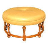 Image of 18th C Style Charles Pollock William IV Round or Circular Ottoman W Genuine Leather For Sale