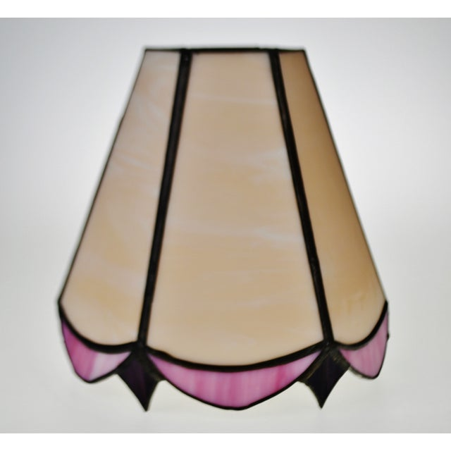 Vintage tiffany style pink and plum colored stained glass lamp vintage tiffany style pink and plum colored stained glass lamp shade image 3 of 9 mozeypictures Image collections