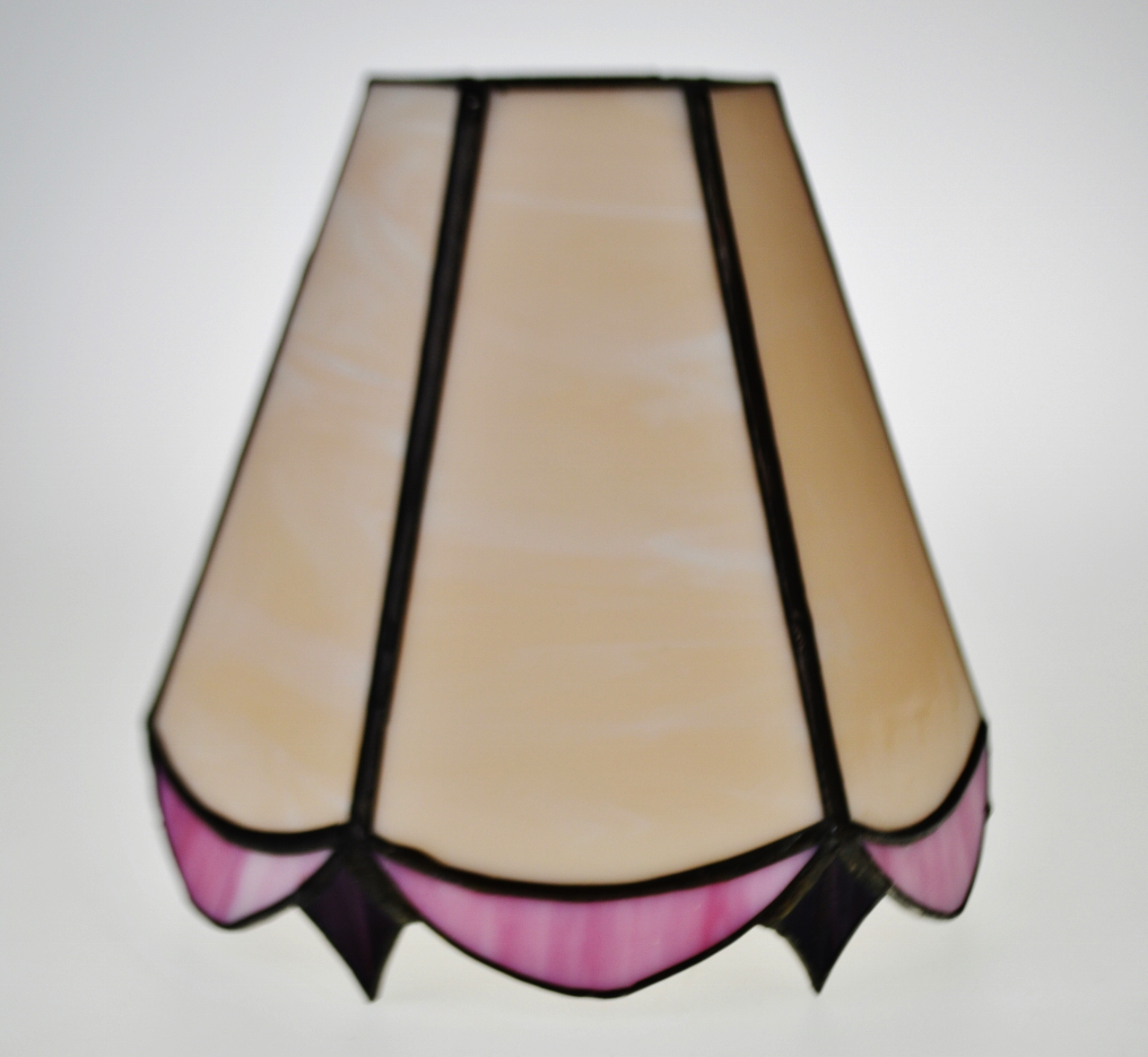 Vintage Tiffany Style Pink And Plum Colored Stained Glass Lamp Shade    Image 3 Of 9