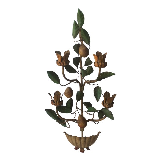 Painted Tole Wall Sconce With Alabaster Pears For Sale