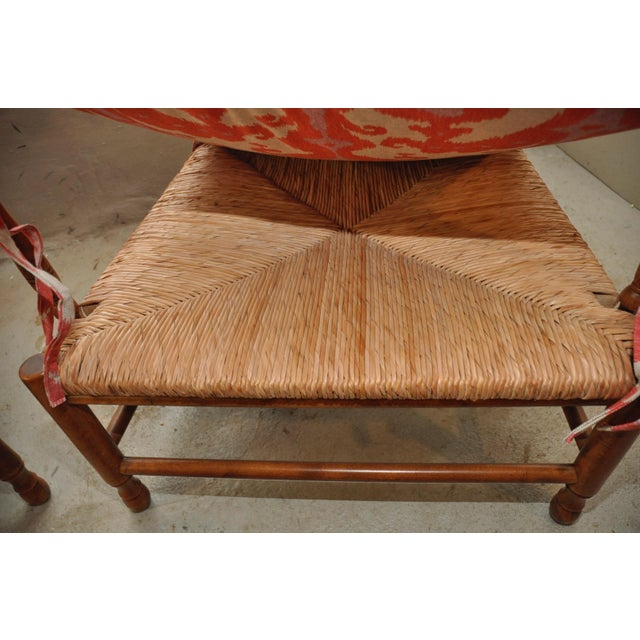 Ikat French Ladderback Cushioned Rush Seat Chairs - A Pair - Image 2 of 8