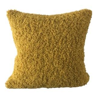 Americana Crate and Barrel Golden Yellow Saffron Boucle Chenile Pillow