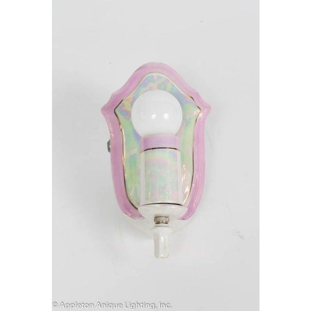 Art Deco Restored Vintage Pink Iridescent Porcelain Bathroom Sconces - a Pair For Sale - Image 3 of 12