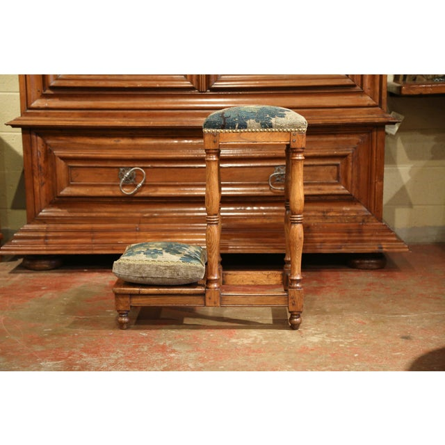 Late 18th Century 18th Century French Carved Chestnut Prayer Chair With Aubusson Tapestry For Sale - Image 5 of 8