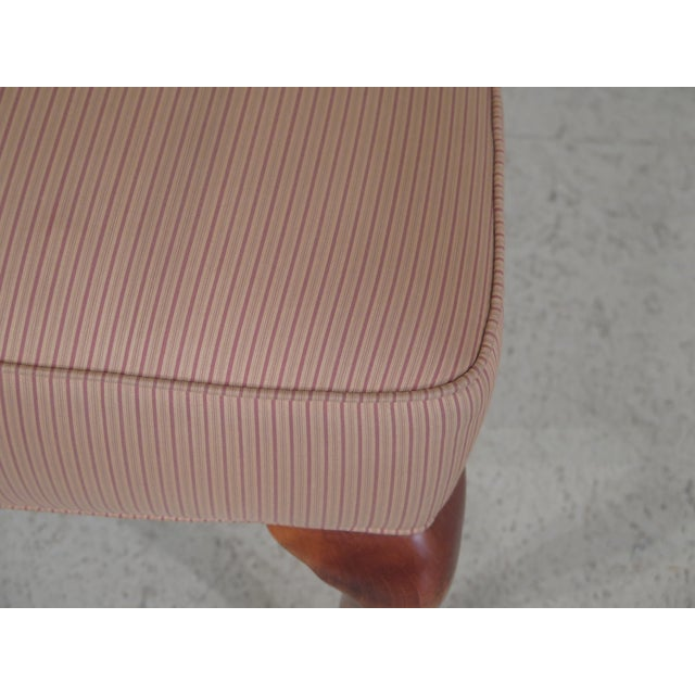 Jessica Charles Cherry Queen Anne Striped Upholstered Chairs - a Pair For Sale - Image 5 of 11