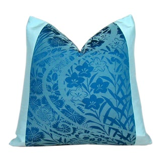 Swirling Aqua & Turquoise Floral Silk Kimono Pillow Cover For Sale