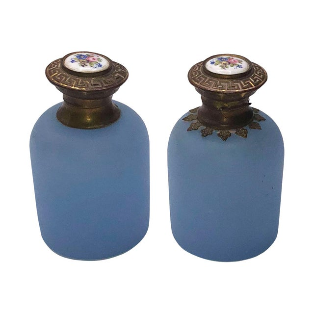 Antique French Blue Opaline Perfume Bottles - a Pair For Sale In Dallas - Image 6 of 6