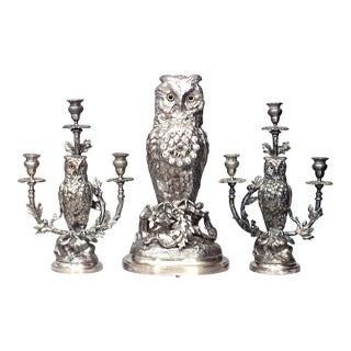 English Victorian Silver-Plated Owl Design Clock and Pair of Candelabra For Sale