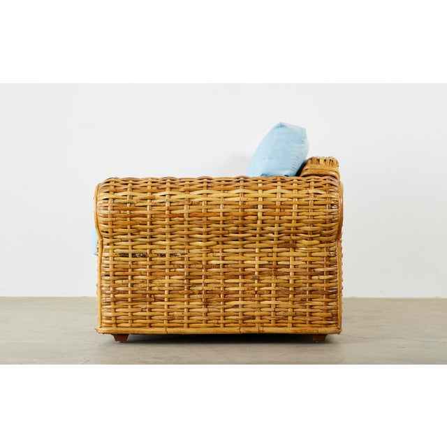 Ralph Lauren Woven Rattan Sofa With Blue Ombre Upholstery For Sale - Image 11 of 13