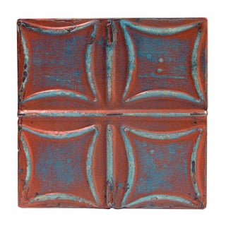 Pink & Blue Curved Squares Tin Panel For Sale