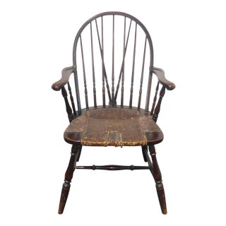 Vintage B&s Co. Solid Wood Rush Seat Rustic Windsor Arm Chair French Country For Sale