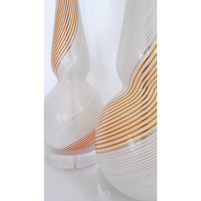 Murano Glass Lamp Pair - 1954 Extraordinarily Rare and Monumental by Dino Martens - Mid Century Modern MCM Italy Venetian Minimalist For Sale In Miami - Image 6 of 13