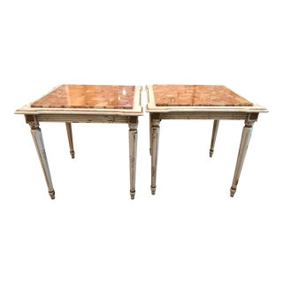 Antique Marble Top Side Tables - a Pair For Sale