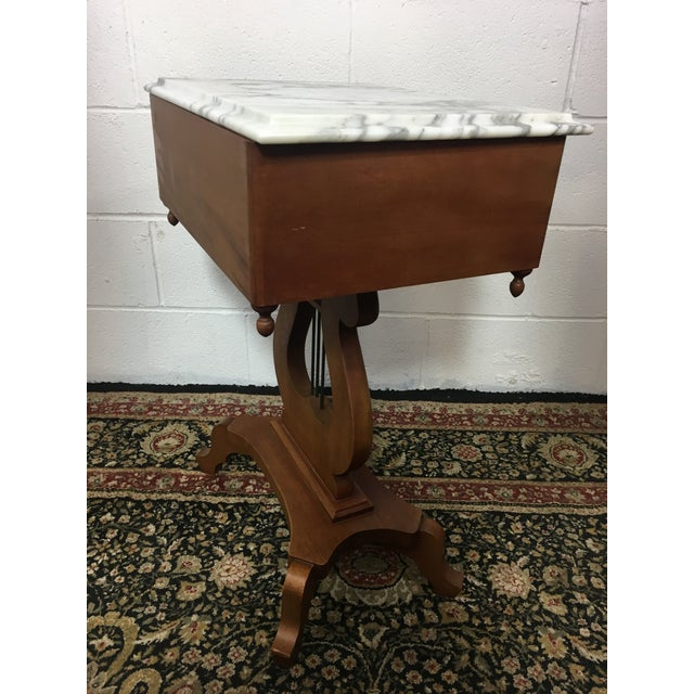 Antique Mahogany Marble Top Harp Side Table For Sale - Image 4 of 8