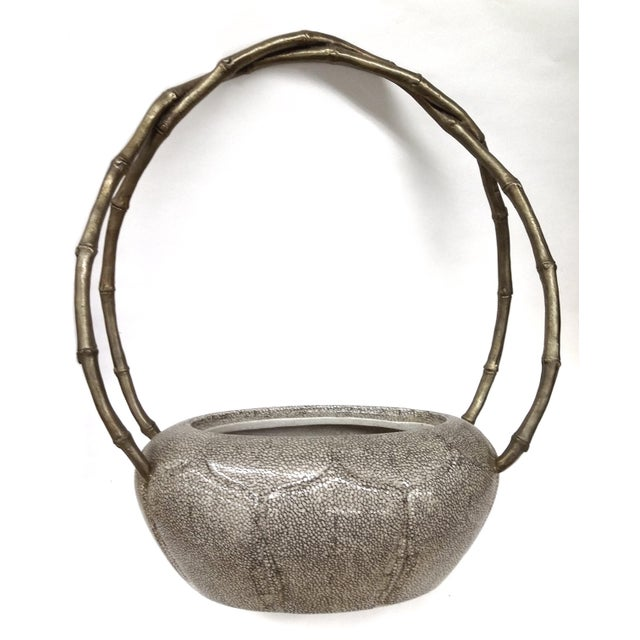 Ceramic Lidded Bowl with Brass & Bamboo Handles For Sale - Image 10 of 10