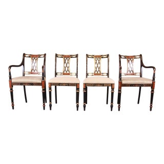 Councill Regency Ebonized Hand-Painted Dining Chairs, Set of Four For Sale
