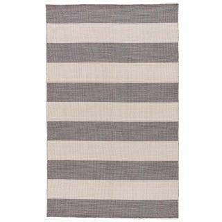 Jaipur Living Tierra Handmade Striped Gray/ White Runner Rug - 2′6″ × 8′ For Sale