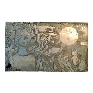 Figurative Illustration Etching Plate For Sale