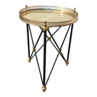 Vintage French Provincial Brass Side Table Hollywood Regency Serving Tray For Sale