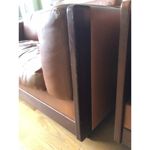 1970s Mid Century Modern Tobia and Afra Scarpa for Gavina 920 Italian Leather Rosewood Sofas - a Pair For Sale - Image 5 of 12