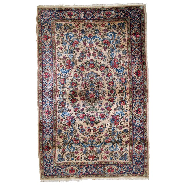 1920s, Handmade Antique Persian Kerman Rug 4.2' For Sale - Image 11 of 11