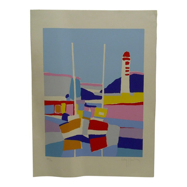 "Colorful Abstract French Print ""De Phare Rouge"" by Hasch For Sale"