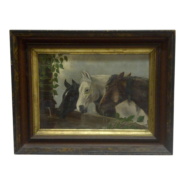 """Original """"Horses Drinking"""" Framed Painting on Canvas Circa 1900 For Sale"""