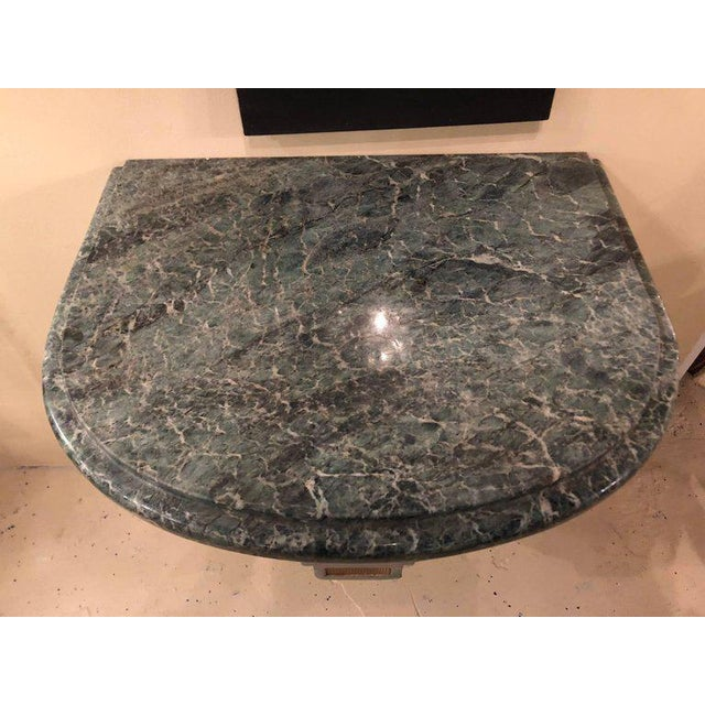 Marble Hollywood Regency Painted and Marble Demilune Consoles - a Pair For Sale - Image 7 of 12