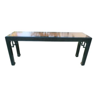 Vintage Henredon Faux Malachite Green and Wood Insert Fretwork Long Console Table For Sale