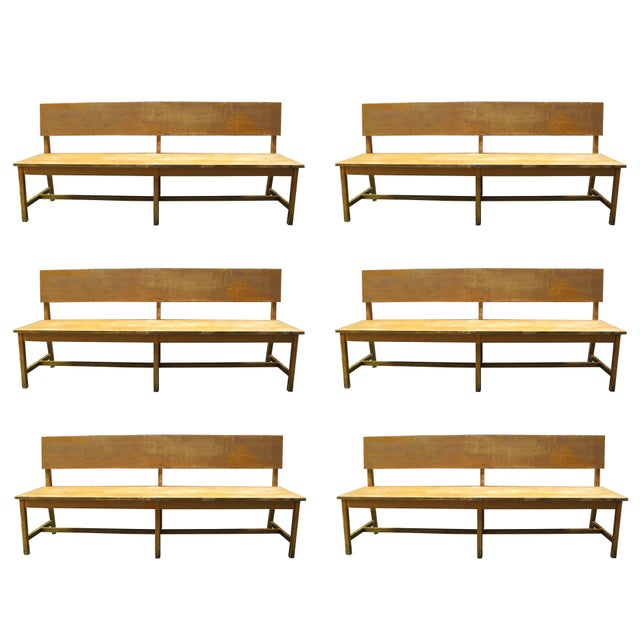 1940s Set of Six Long Wooden Benches For Sale - Image 5 of 5