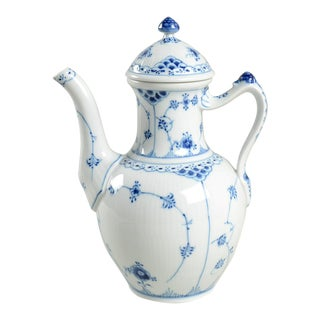 Royal Copenhagen Blue Fluted Half Lace Border Coffee Pot & Lid For Sale