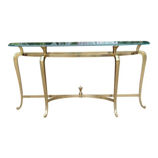 Brass Italian Glass Top Console Table For Sale