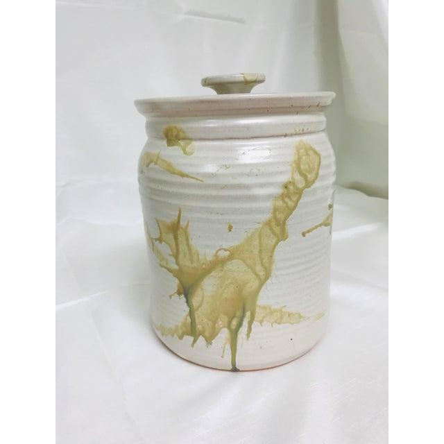 Contemporary glazed lidded crock / canister signed studio pottery.