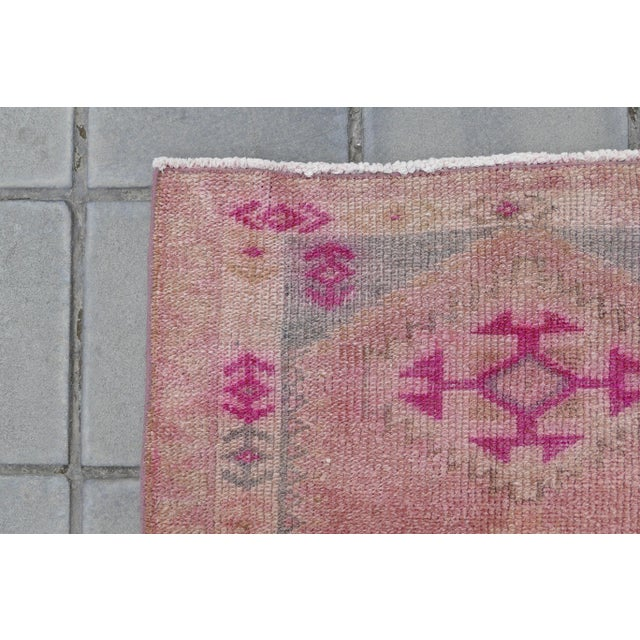 Pink 1970s Vintage Turkish Kurdish Pink Runner- 2′8″ × 12′5″ For Sale - Image 8 of 11