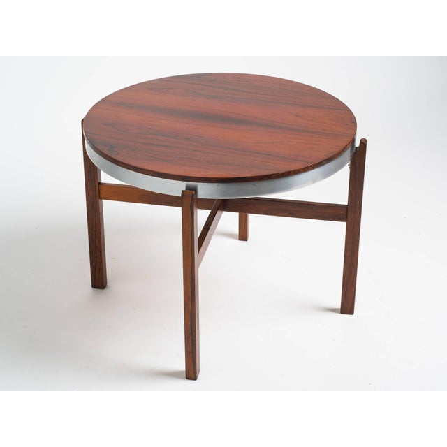 Norwegian Rosewood Side Table With Metal Trim For Sale In New York - Image 6 of 9