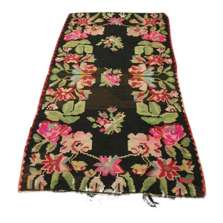"Vintage Floral Handwoven Turkish Kilim Rug - 3' 9"" x 6'5"""