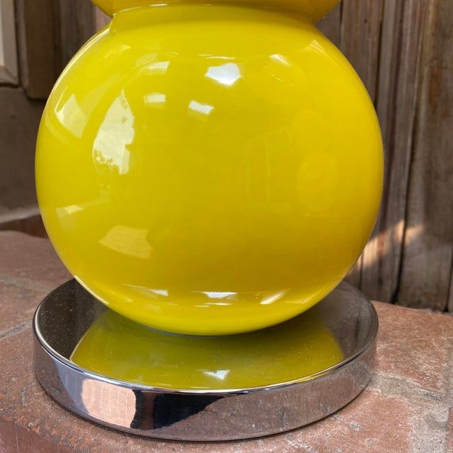 1960s Mid-Century Modern Sonneman Kovaks Yellow Stacked Ball Ceramic Lamps with Original Shades - a Pair For Sale - Image 10 of 13