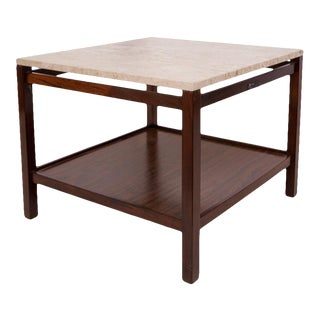Brazilian Mid-century Modern Side Table in Jacaranda with Marble Top For Sale