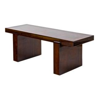 Jacques Adnet Modernist Pure Design Walnut Burl Art Deco Coffee Table For Sale