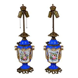 """Pair Antique French Porcelain """"Old Paris"""" Lamps Circa 1860-1870 For Sale"""