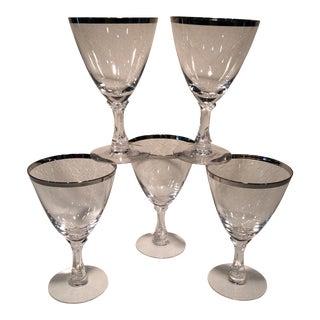 Fostoria Wedding Ring Platinum Rim Water Glasses - Set of 5