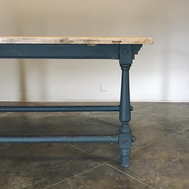 Brown Antique Painted Dining Table With Stripped Top For Sale - Image 8 of 12